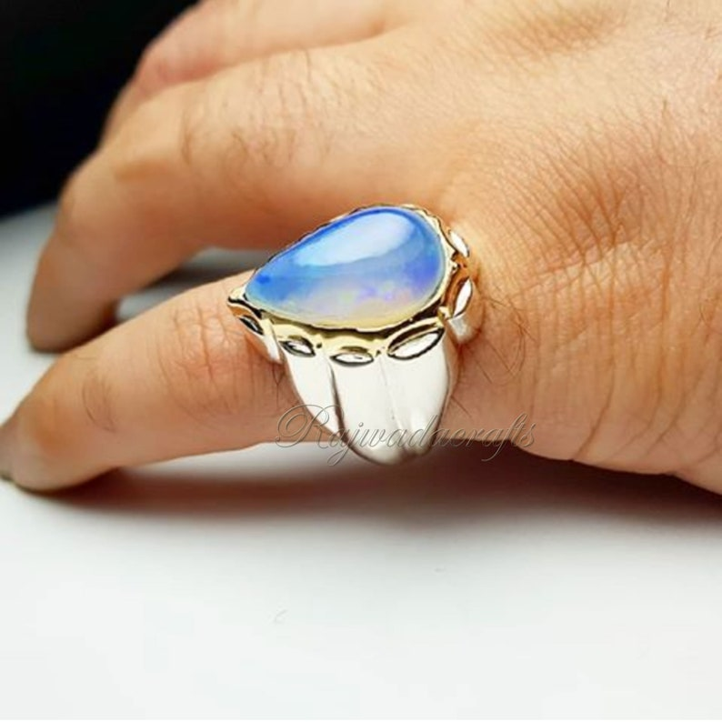 925 Silver  Ring Moonstone Jewelry Birthstone Ring Moonstone Ring Handmade Ring White Rainbow Moonstone Ring
