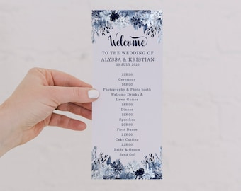 "Navy Blue Wedding Program Template 3,75 x 9"" - Editable Program  - TWO cards included - Dusty Blue Wedding Colors - MSL109"