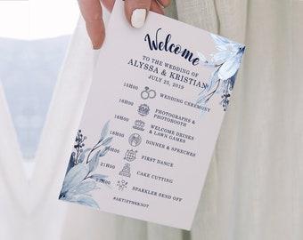 "Navy Blue Wedding - Wedding Program Template 5 x7"" - Editable Template - Dusty Blue Weddings - Wedding Timeline - MSL109"