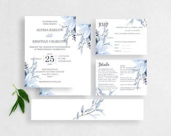 Navy Blue Wedding Invitations - Printable Wedding Invitation Set -  Dusty Blue Wedding  - MSL109
