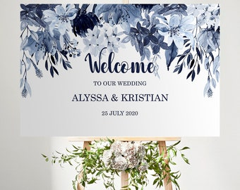 """Navy Blue Wedding Welcome Sign - Dusty Blue Wedding Welcome Board - Editable Template 24 x 36"""" - MSL109"""