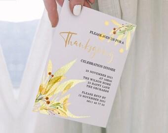 Thanksgiving Invitation - Editable and Printable Invitation -  Autumn Colours Thanksgiving - Fall Floral Invitation - MSL114