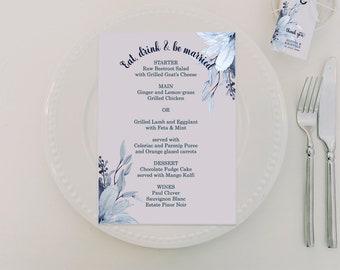 "Navy Blue Wedding - Menu Editable Template 5 x7"" - Dusty Blue Wedding Colors - Printable Menu - MSL109"