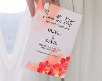 Red Wedding - Printable Save The Date - Red and Coral Save the Dates Card - TWO Sizes included -  MSL102