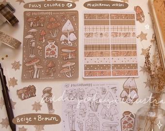 Mushroom Cottagecore Bullet Journaling Stickers & Mushroom Washi Strips