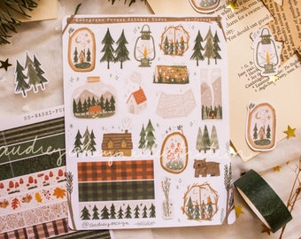 Evergreen Forest Sticker Sheet | Adventure Bullet Journaling Stickers