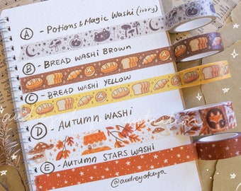 Autumn Collection Washi Tapes 5 Different Designs