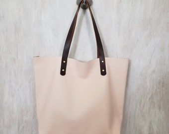9f0bcb073689 Handcrafted Blush Pink Leather Tote