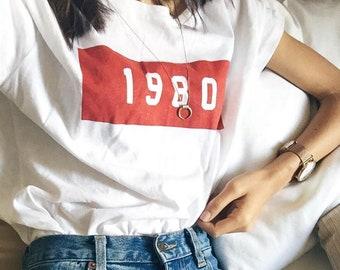 afc26b41 1980 Retro Short Sleeve T-Shirt - Brandy Melville Inspired