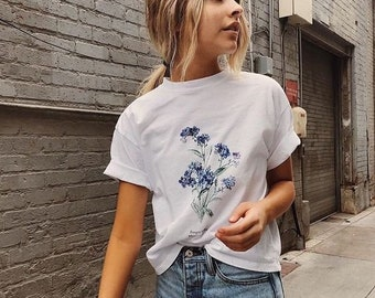 3cb2beac4 Forget Me Not Floral Shirt || Botanical Wildflower T-Shirt • Brandy  Melville Inspired Graphic Tee • Aesthetic Clothing