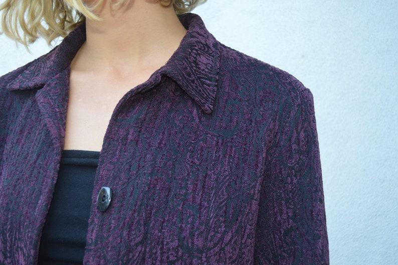 Clothing aesthetic apparel clothing Purple textured vintage boho jacket    vintage  coat unique boho clothing festival clothing purple floral jacket Women's  Clothing