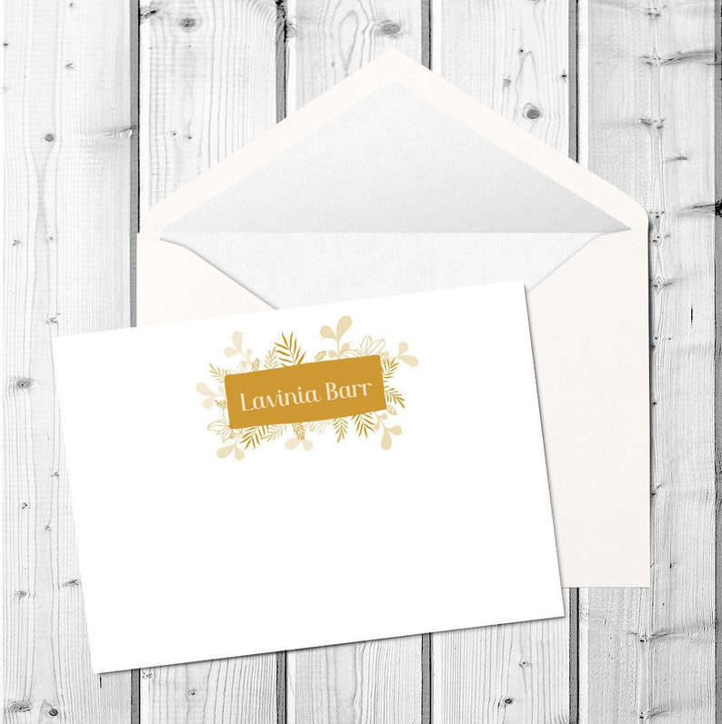 Flower Box Personal Flat Stationery Cards Custom Bespoke Personalized White Envelopes Flat Card  A2 size 300GSM Linen Finish
