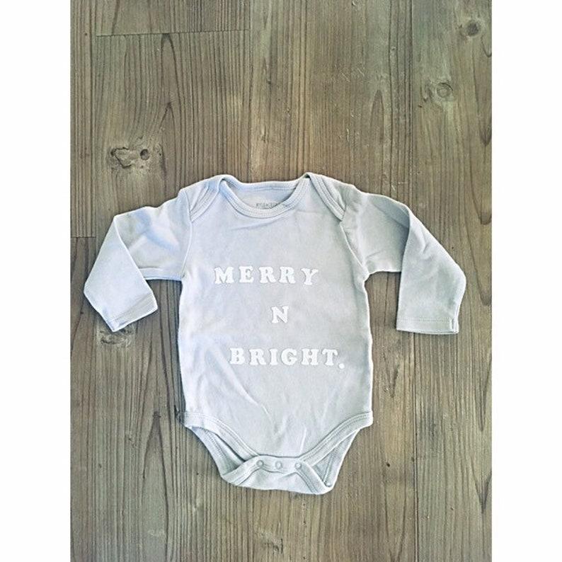 Boho Christmas baby boy onesie  Merry N Bright Onesie  baby Christmas Onesie  Merry Christmas baby onesie