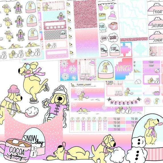 GLITTERBOMB Mini Weekly Set,Planner Stickers,Unicorn Stickers,Glitter Planner Stickers,Whimsical Mini Weekly Sticker Set,380