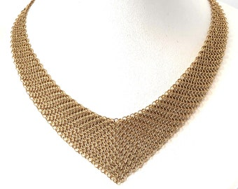 b009d5a00 Authentic Tiffany & Co. Elsa Peretti 18K Yellow Gold Mesh Bib Tie Back  Necklace