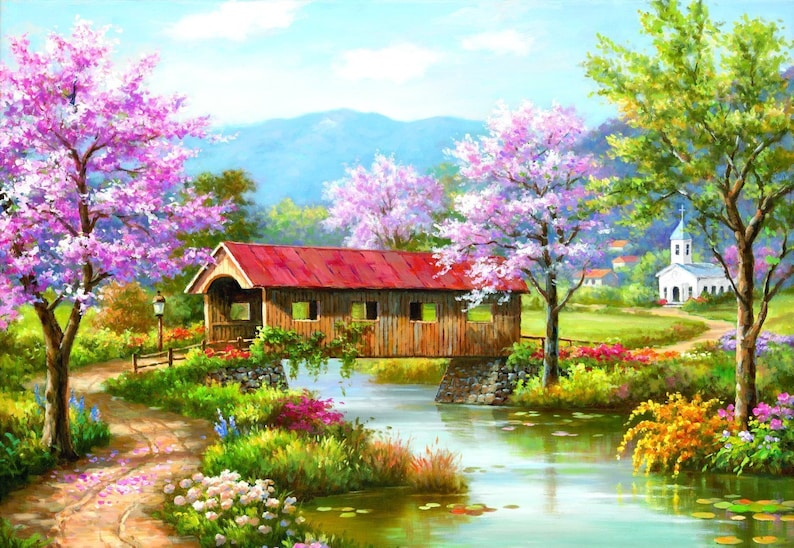 Covered Bridge in Spring 300pc Jigsaw Puzzle by Sung Kim
