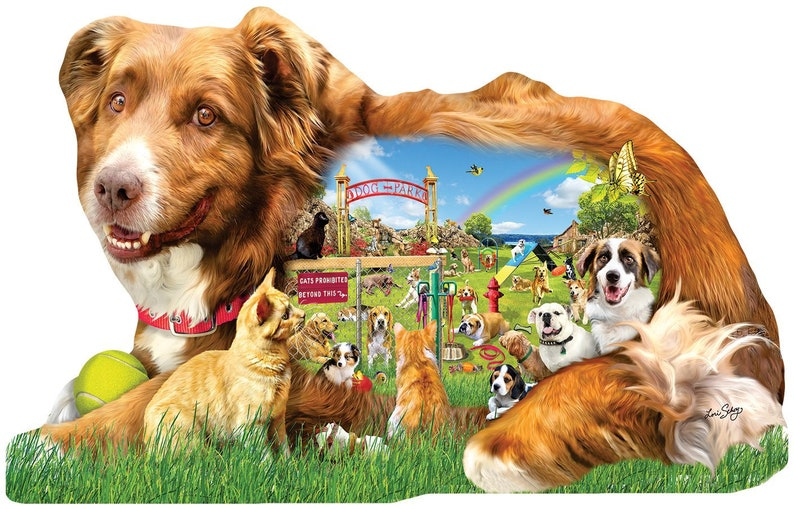 Dog Park 1000pc Shaped Jigsaw Puzzle by