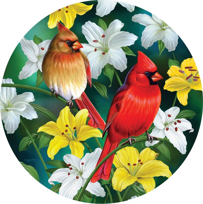 Cardinals in the Round 500pc Shaped Jigsaw Puzzle by Cynthie Fisher