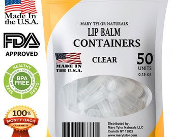 Lip Balm Containers, 50 Clear Round Tubes, Made in USA, 0.15 oz, BPA Free, with Caps, DIY Lipstick, homemade Lip Balm by Mary Tylor Naturals
