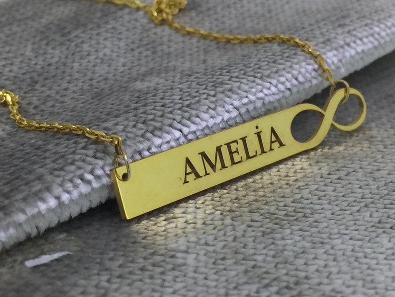 Custom Name Bar Necklace Personalized Bar Necklace Name necklace infinite Bar Necklace Custom Name Bar Bar Necklace