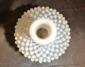 Vintage Fenton Glass White Hobnail Opalescent Perfume Bottle Blue and White Home Decor Vase Flower Holder