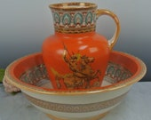 Vintage Furnival Ironstone Pottery Wash Bowl and Pitcher Set with Lion Fighter Art Collectible Pitchers
