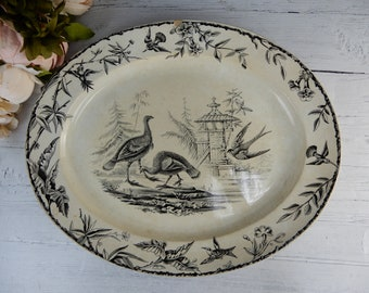 """Antique INDUS By Ridgway Sparks & Ridgway Aesthetic Transferware Platter 15-3/4"""""""