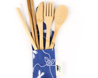 Balinese Blue & White Cutlery Bag. Eco -friendly, reusable and sustainable.