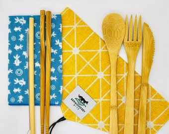 Bamboo cutlery set (8 pcs) with napkin and cutlery bag (yellow). Eco -friendly, reusable and sustainable