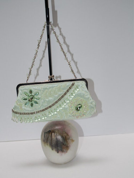 Light Lime Green Beaded Bag, Made in China