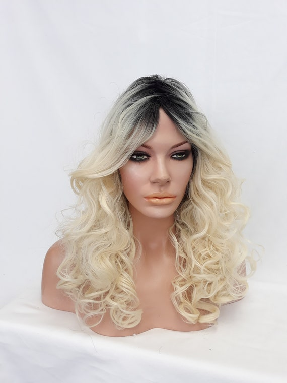 Ombre Blonde Wig Black Roots Platinum Blonde Curly Wig Long Etsy