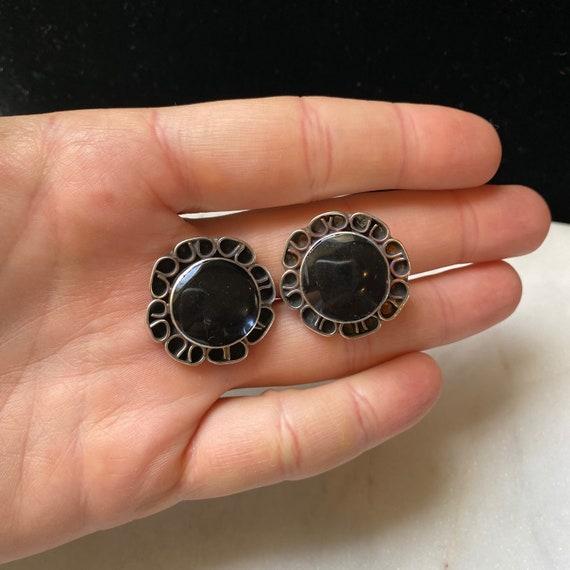 Vintage Navajo onyx mosaic sterling stud earrings