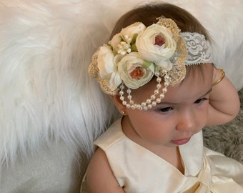 Christening Infant Headpiece Victorian Style Lace Crown Baby Halo Ivory Off White Baby Wreath Baptism Gatsby Style Garland