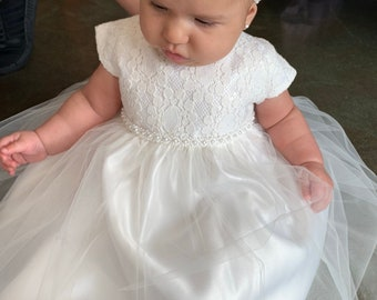 f0fc83b87 Baptism Baby Dress Pearl Baby Girl Dress Christening Gown White baby girl  dress Ivory Baby dress Toddler christening dress