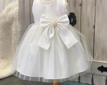 6f0513a8cd9f Pearl Vintage Christening Dress - Baby Girl Baptism Dress - white baptism  dress pearls flowergirl dress - naming dedicatiom ceremony dress