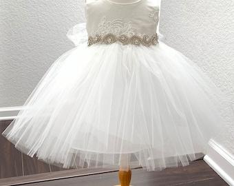 e1eeef9ffe0b Baptism Baby Dress Pearl Baby Girl Dress Christening Gown White baby girl dress  Ivory Baby dress Toddler christening dress
