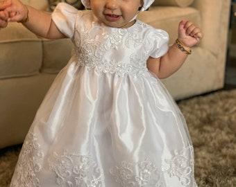 06c9f3714 Long Baptism Dress Baby Girl baptism Dress long Christening Gown White baby  girl dress lace Baby baptism dress christening dress cap-sleeve