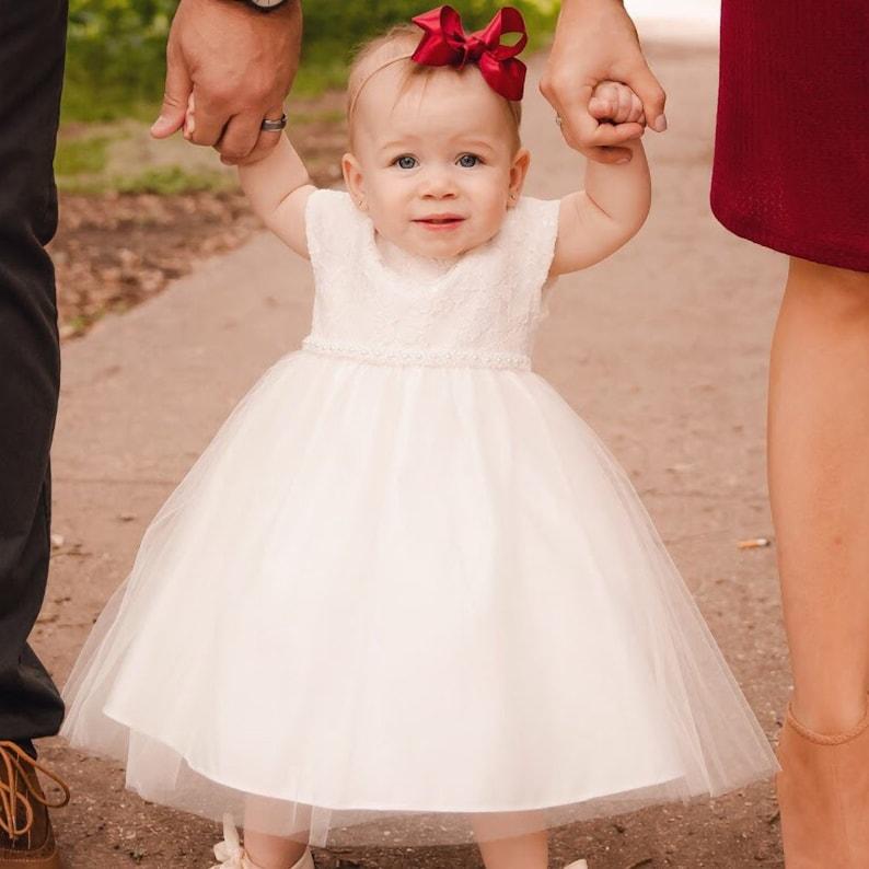 Baptism Baby Dress Pearl Baby Girl Dress Christening Gown White baby girl dress Ivory Baby dress Toddler christening dress