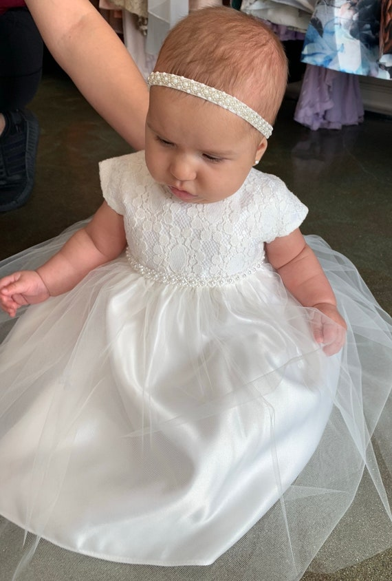 Baby Girls Christening//Baptism Cross Outfit Ribbons and Pearls