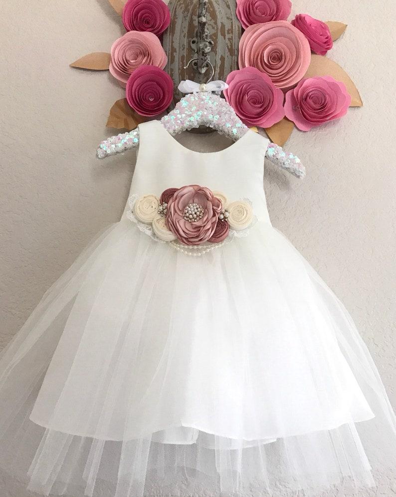 55eabde77cb84 Flower Girl Dress Christening baby Dress white Baby Girl dress baptism  dress girls Communion dress Naming Ceremony Dress first birthday dres