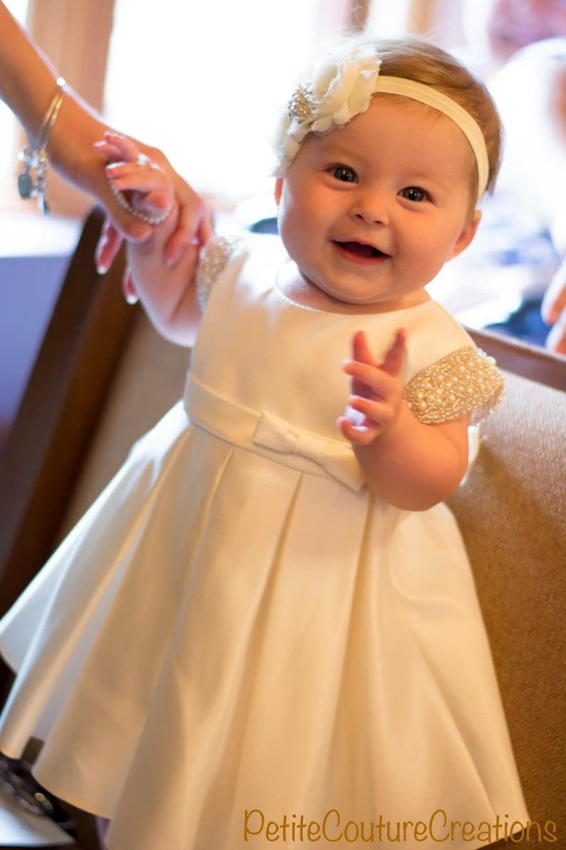 0b39cec84a6a4 Vintage Baptism Dress Satin Baby Girl Baptism Dress White baby girl dress  white baptism dress White Christening Dress satin Baby Girl Dress