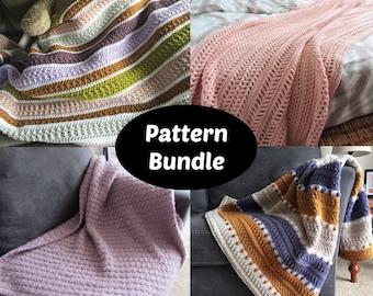 CROCHET PATTERN BUNDLE - 6 Crochet Blanket Patterns   Beginner and Intermediate Blanket Patterns   Beautiful Crochet Afghans   Pdf Download