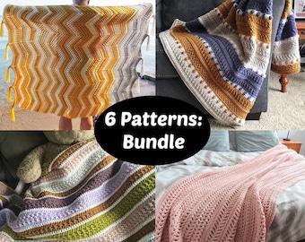 CROCHET PATTERN BUNDLE - 6 Crochet Blankets Patterns   Beginner and Intermediate Crochet Blanket Patterns   Beautiful Crochet Afghans