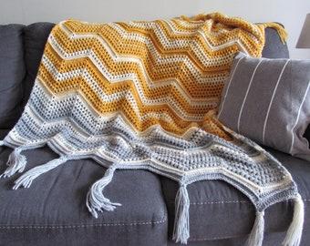 CROCHET PATTERN - Chevron with a Twist Blanket; Summer Crochet Afghan Pattern; Cozy Crochet Throw; Cozy Crochet Blanket; Textured Blanket