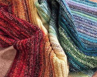 CROCHET PATTERN - Easy Weighted Rainbow Blanket. Crochet Weighted Blanket Pattern. Crochet Scrapghan Pattern. Crochet Scrap Rainbow Blanket.