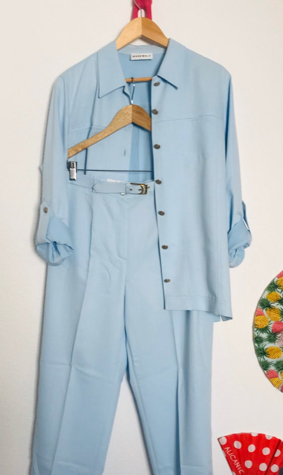 Vintage baby blue women's trousers suit /  by Mark