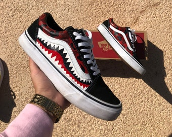 18953ec2198543 Custom Bape Vans Red Mens Womens