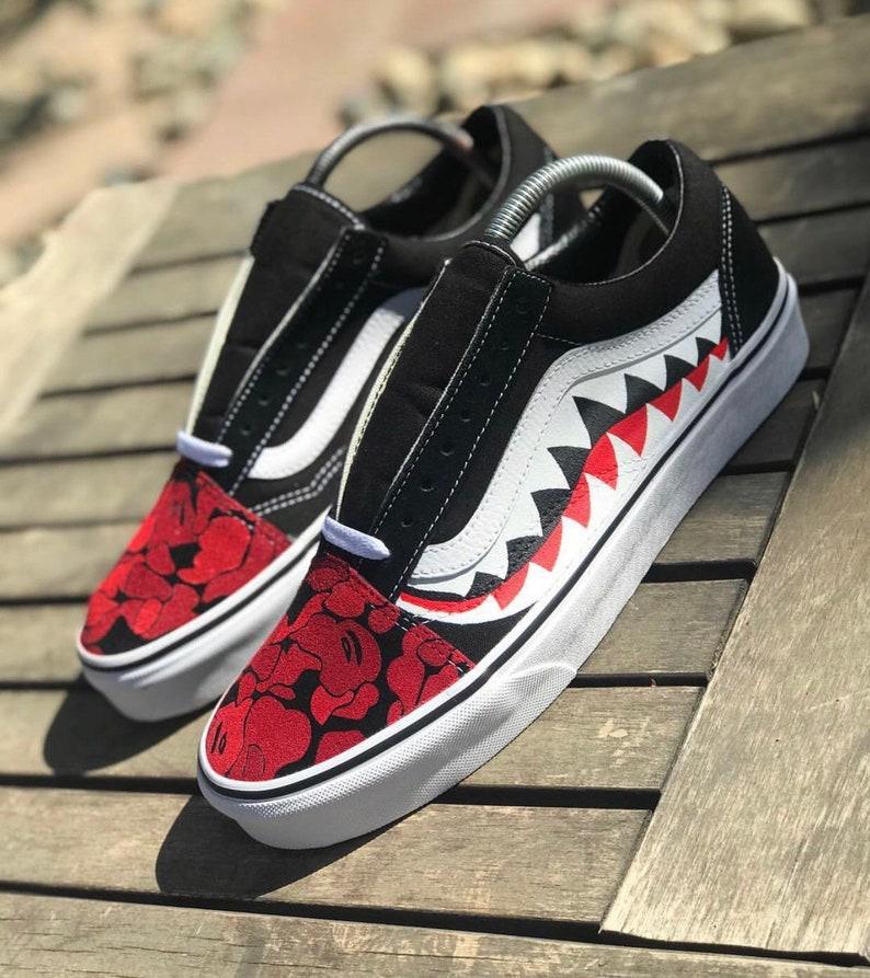 5024109a64 Red Bape Camo Custom Vans Womens Mens