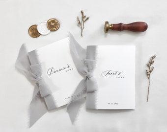 Personalized Vow Books, Modern Classic Style, Wedding Keepsake