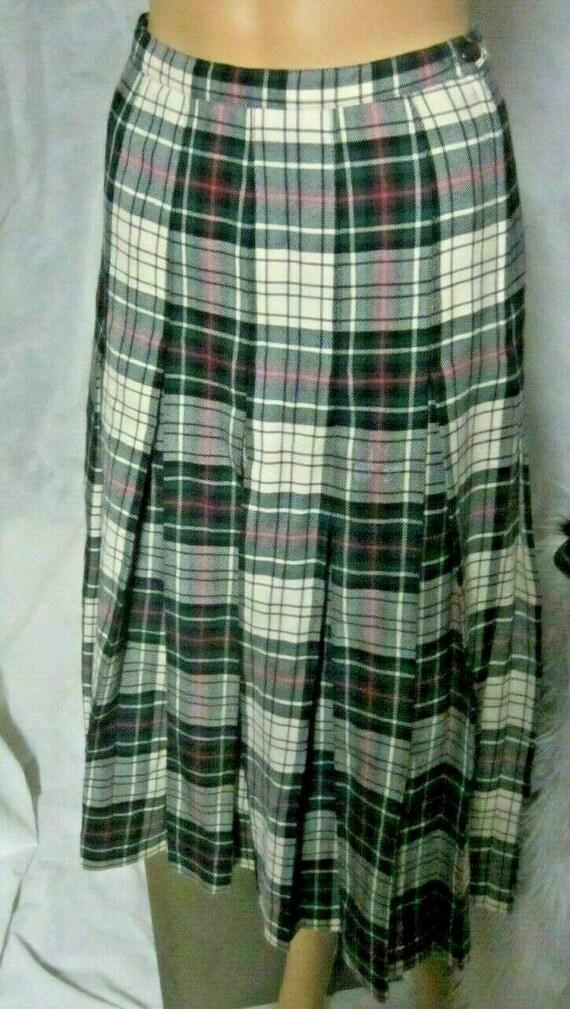 Aljean 100% Wool Klit Skirt Long Black Plaid Vinta